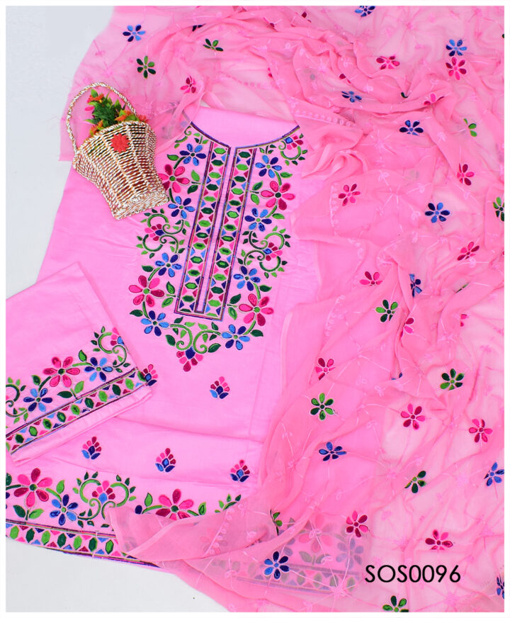 3 PC Lawn Un-Stitched Aari Embroidery Fancy Suit With Chiffon Dupatta - SOS0096