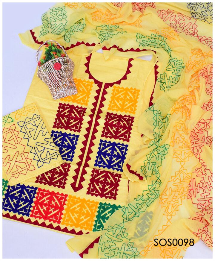 3 PCs Lawn Aari Embroidery Applique Style Un-Stitched Suit with Chiffon Dupatta - SOS0098