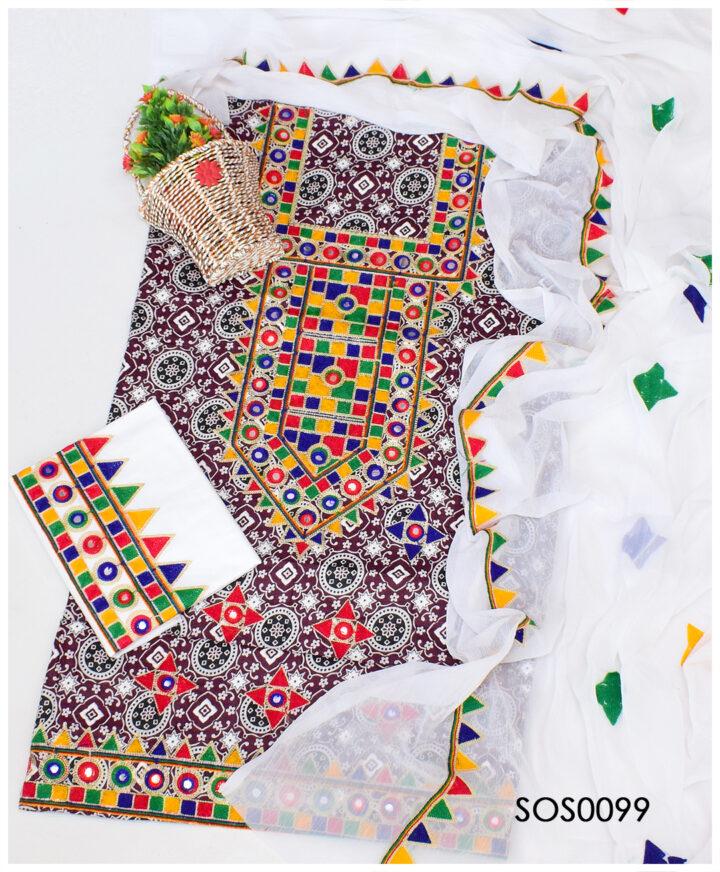 3 PCs Un-Stitched Grey Ajrak Aari Embroidery Suit With Chiffon Dupatta - SOS0099