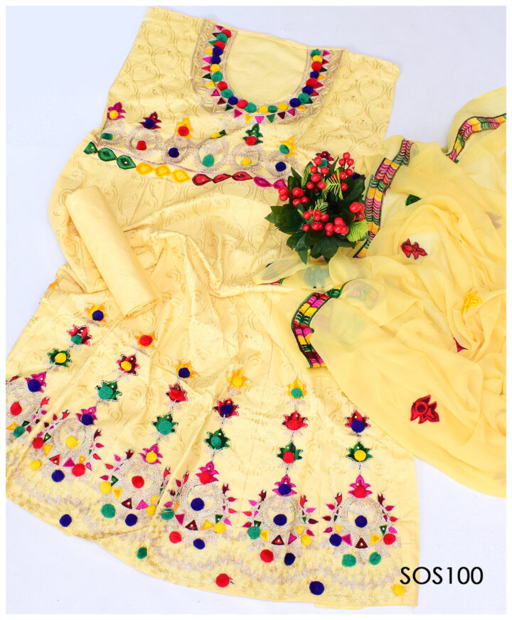 3 PCs Fancy Cotton Lawn Embroidered Semi Stitch Frock With Chiffon Dupatta - SOS100