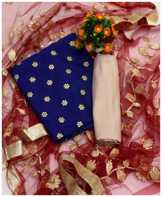 3 PCs Fancy Un-Stitched Raw Silk Shirt, Net Gotta Work Dupatta & Masoori Shalwar Suits