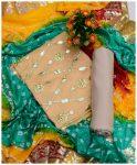 3 PCs Fancy Un-Stitched Embroidery Paper Silk Shirt, Chunri Cotton Silk Pasting Gotta Dupatta & Masoori Shalwar