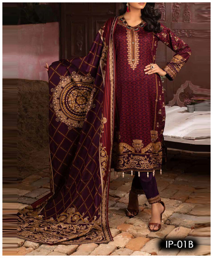 Unstitched 3 PCs Printed Lawn Shirt with Printed Lawn Dupatta & Cambric Trouser - IP-01B