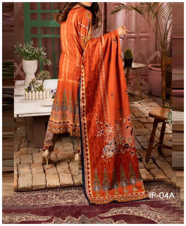 Unstitched 3 PCs Printed Lawn Shirt with Printed Lawn Dupatta & Cambric Trouser - IP-04A