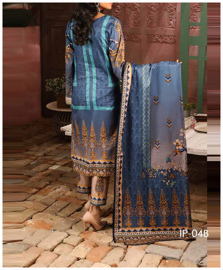 Unstitched 3 PCs Printed Lawn Shirt with Printed Lawn Dupatta & Cambric Trouser - IP-04B
