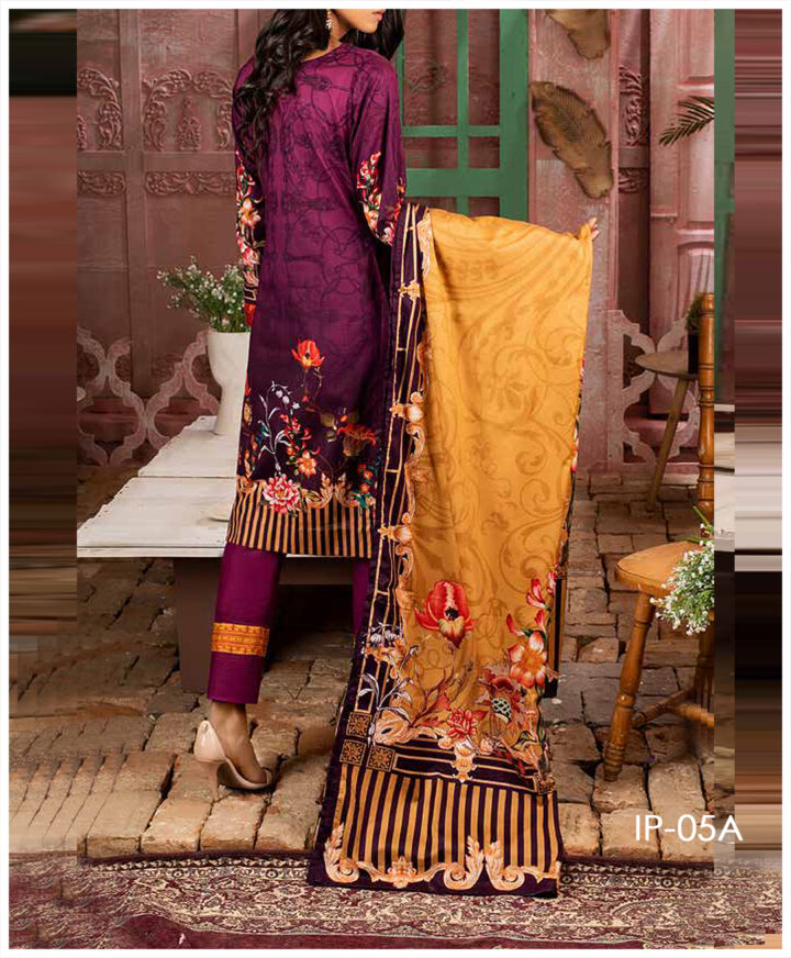 Unstitched 3 PCs Printed Lawn Shirt with Printed Lawn Dupatta & Cambric Trouser - IP-05A