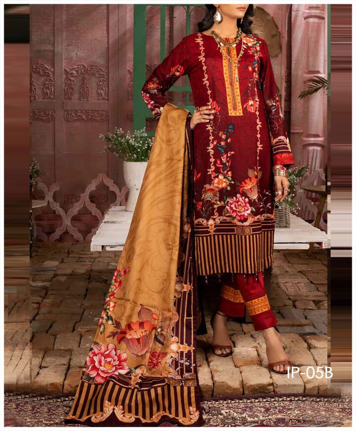 Unstitched 3 PCs Printed Lawn Shirt with Printed Lawn Dupatta & Cambric Trouser - IP-05B