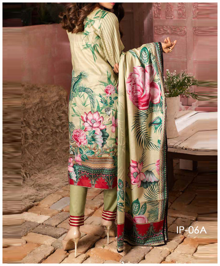 Unstitched 3 PCs Printed Lawn Shirt with Printed Lawn Dupatta & Cambric Trouser - IP-06A