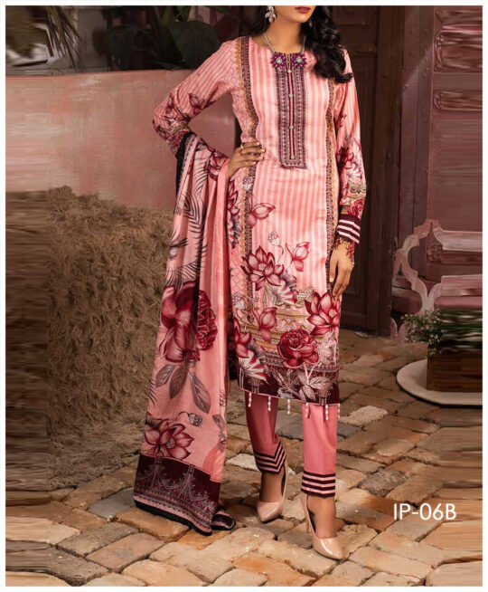 Unstitched 3 PCs Printed Lawn Shirt with Printed Lawn Dupatta & Cambric Trouser – IP-06B