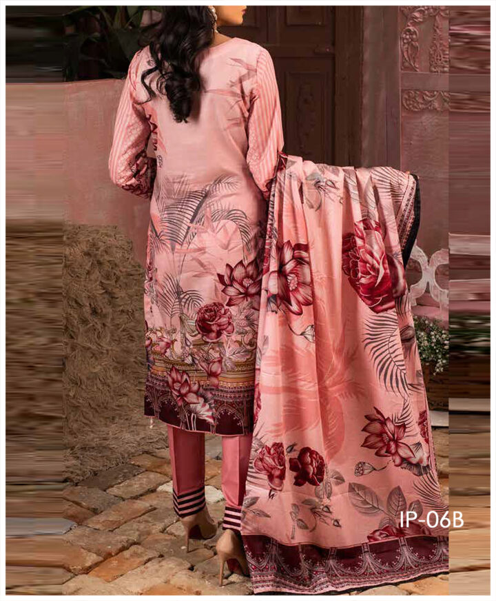 Unstitched 3 PCs Printed Lawn Shirt with Printed Lawn Dupatta & Cambric Trouser - IP-06B