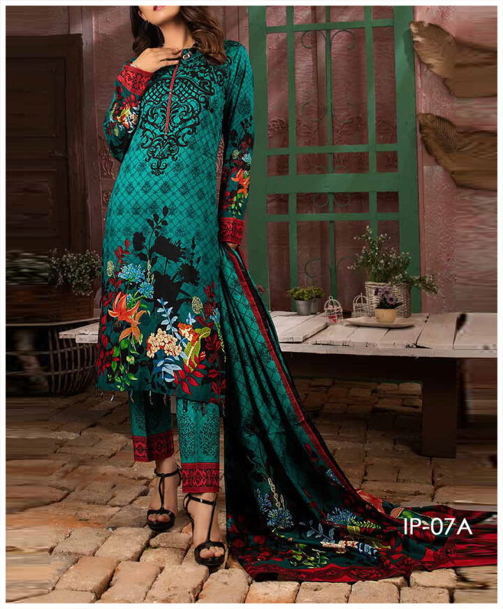 Unstitched 3 PCs Printed Lawn Shirt with Printed Lawn Dupatta & Cambric Trouser - IP-07A