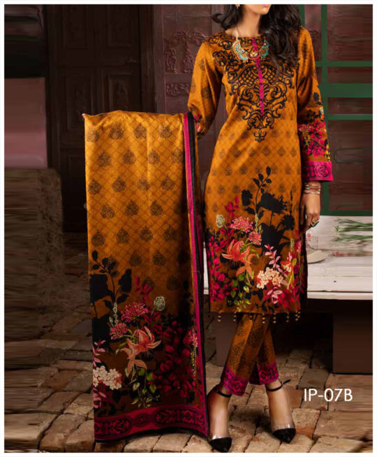 Unstitched 3 PCs Printed Lawn Shirt with Printed Lawn Dupatta & Cambric Trouser – IP-07B