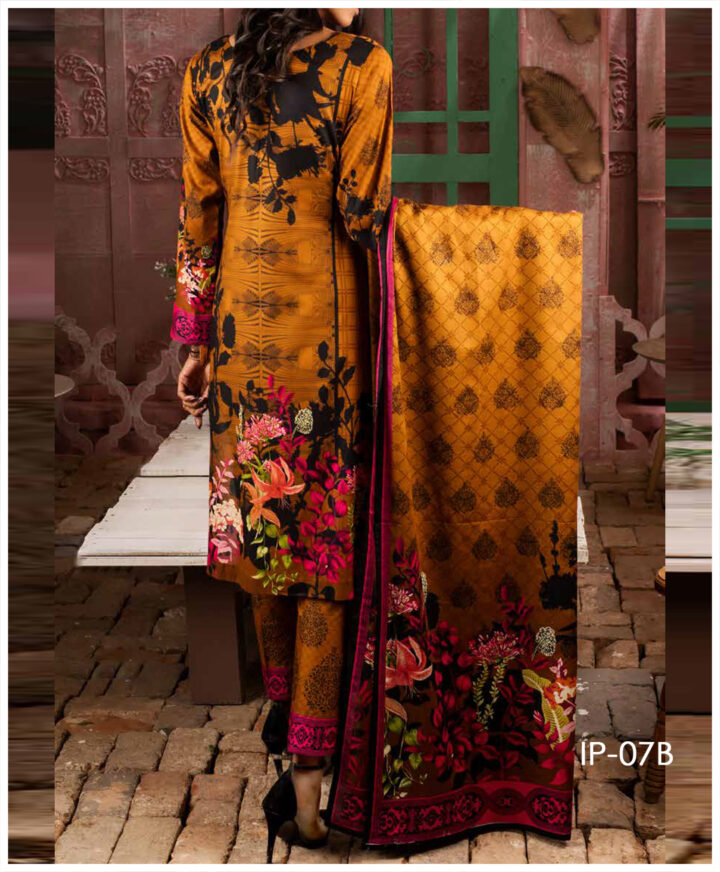 Unstitched 3 PCs Printed Lawn Shirt with Printed Lawn Dupatta & Cambric Trouser - IP-07B