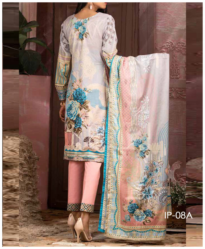 Unstitched 3 PCs Printed Lawn Shirt with Printed Lawn Dupatta & Cambric Trouser - IP-08A