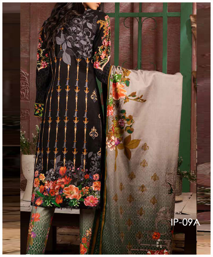 Unstitched 3 PCs Printed Lawn Shirt with Printed Lawn Dupatta & Cambric Trouser - IP-09A