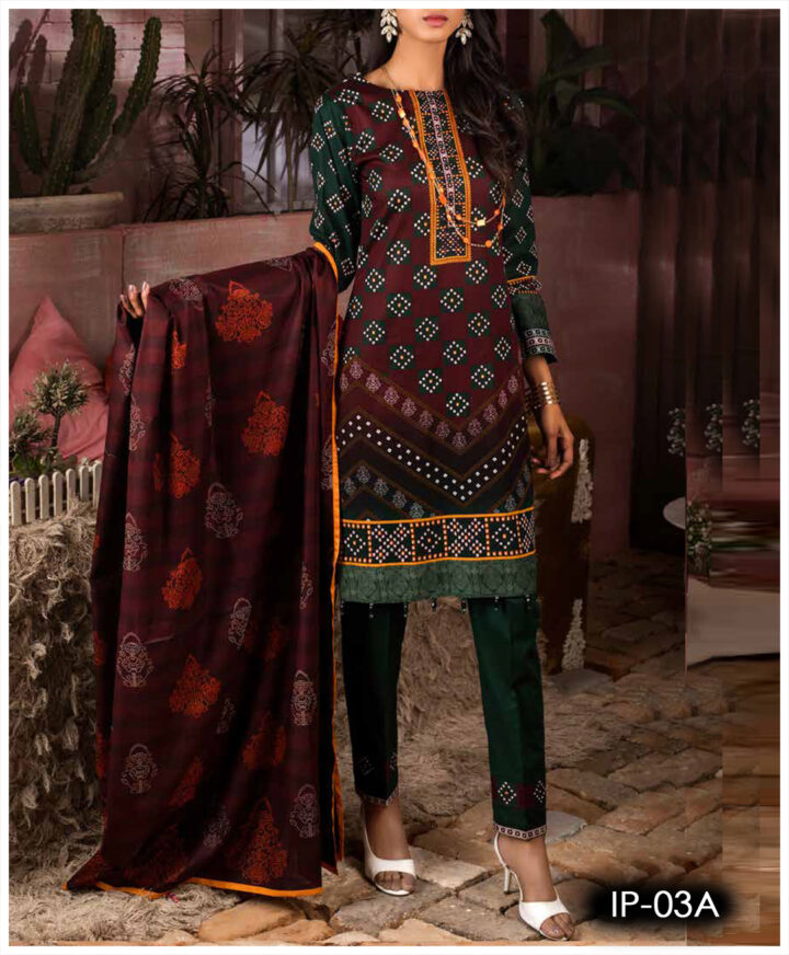 Unstitched 3 PCs Printed Lawn Shirt with Printed Lawn Dupatta & Cambric Trouser - IP03A