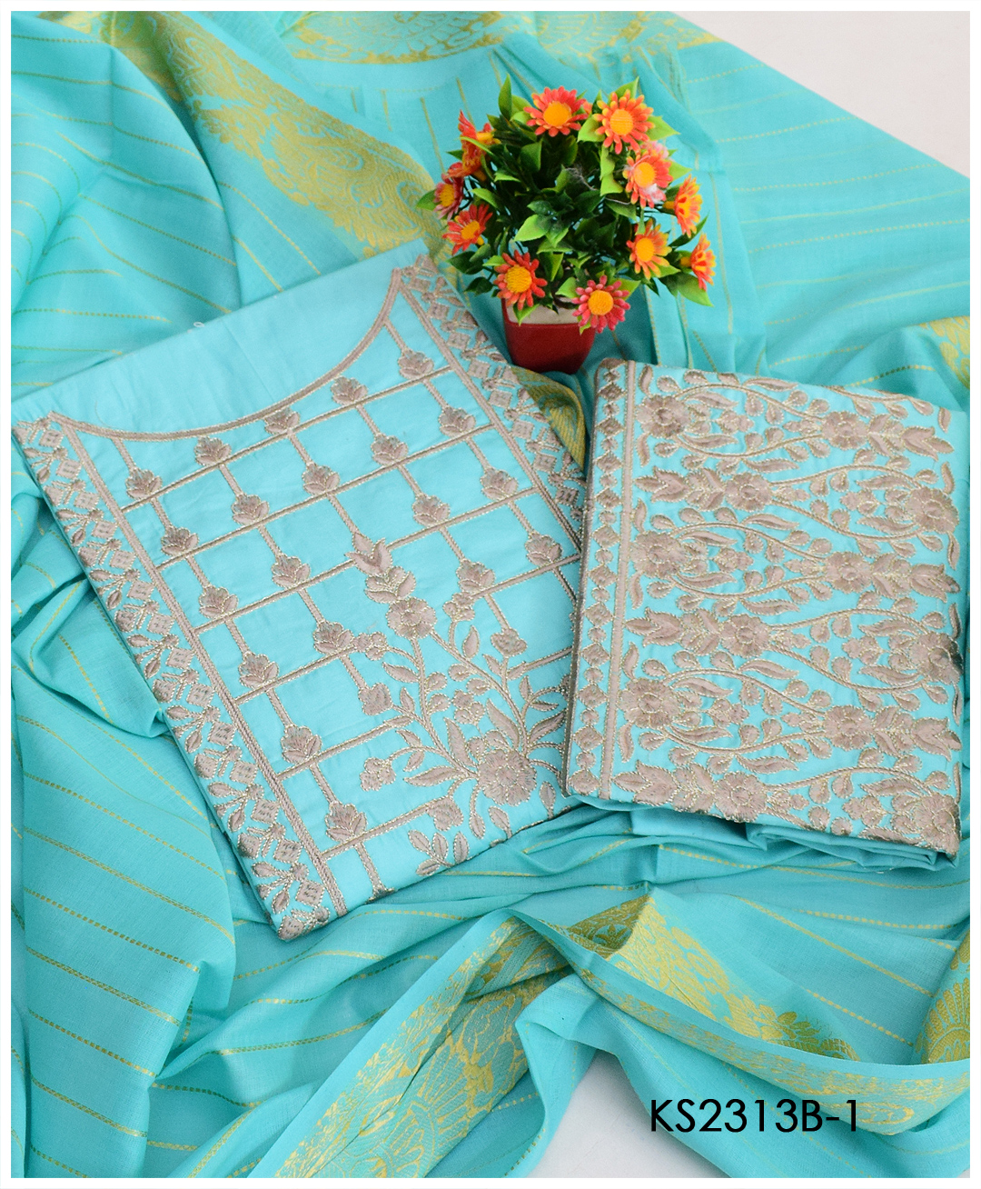 3 PCs Un-Stitched Machine Embroidery Lawn Suits With Khadi Dupatta - KS2313B
