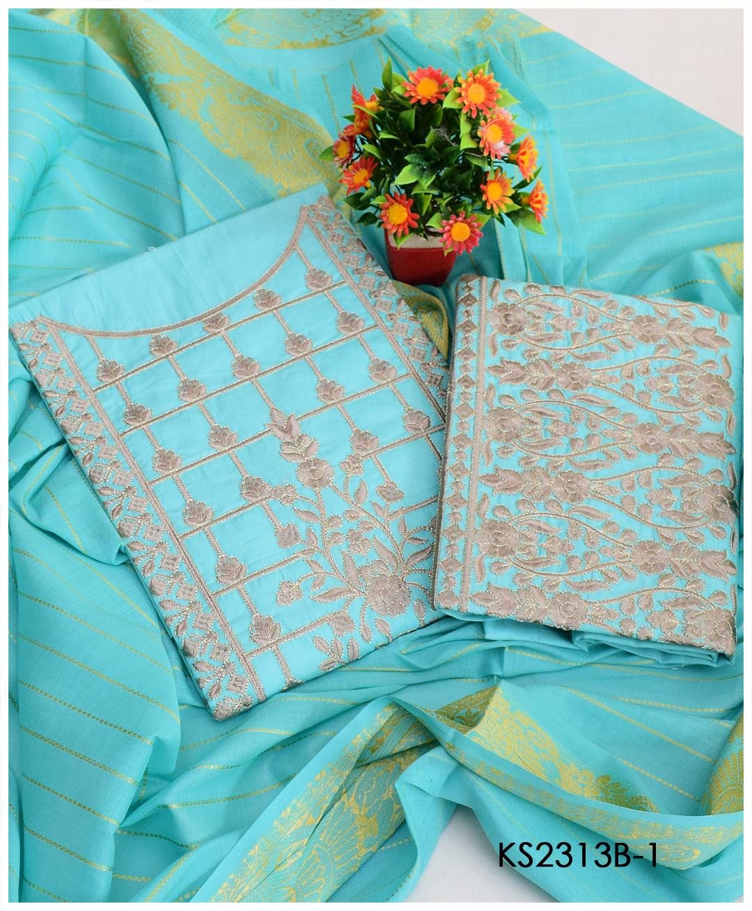 3 PCs Un-Stitched Machine Embroidery Lawn Suits With Khadi Dupatta - KS2313B