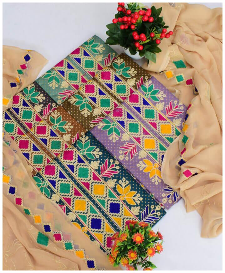3 PCs Gold Dot Printed Lawn Un-Stitched Aari Work Suits With Chiffon Dupatta - KS2937B
