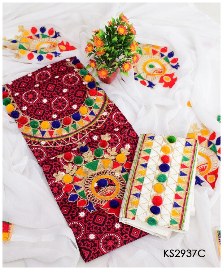 3 PCs Aari Ball Lawn Ajrak Suits With Chiffon Embroidered Dupatta - KS2937C