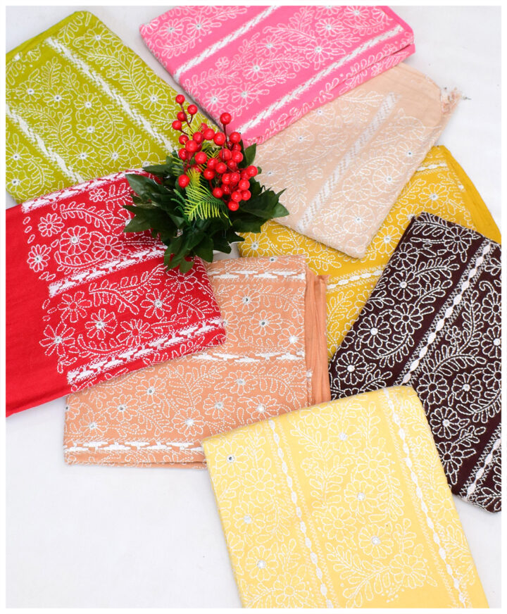 3 PCs Lawn Un-Stitched Hand Embroidery Kacha Tarkashi Suits With Lawn Dupatta - MAZ25B