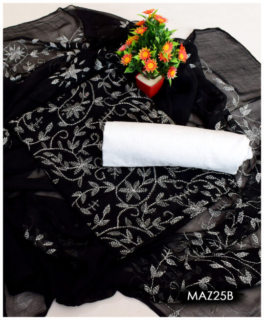 Un-Stitched Lawn 3 PCs Hand Embroidered Sippi Jaal Suits With Chiffon Dupatta - MAZ25B