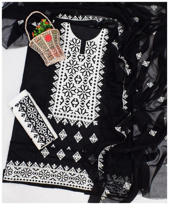Un-Stitched Cotton Lawn 3 PCs Computer Applique Black & White Suits with Chiffon Dupatta- NI1596P