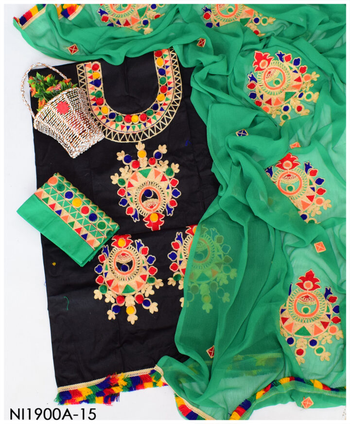 Un-Stitched Lawn Black Aari Ball Embroidery Summer Suits With Contrast Trouser and Chiffon Dupatta - NI1900A