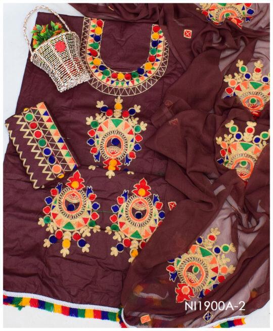 Lawn 3 PCs Machine Aari Ball Embroidery Suits With Chiffon Dupatta - NI1900A-2