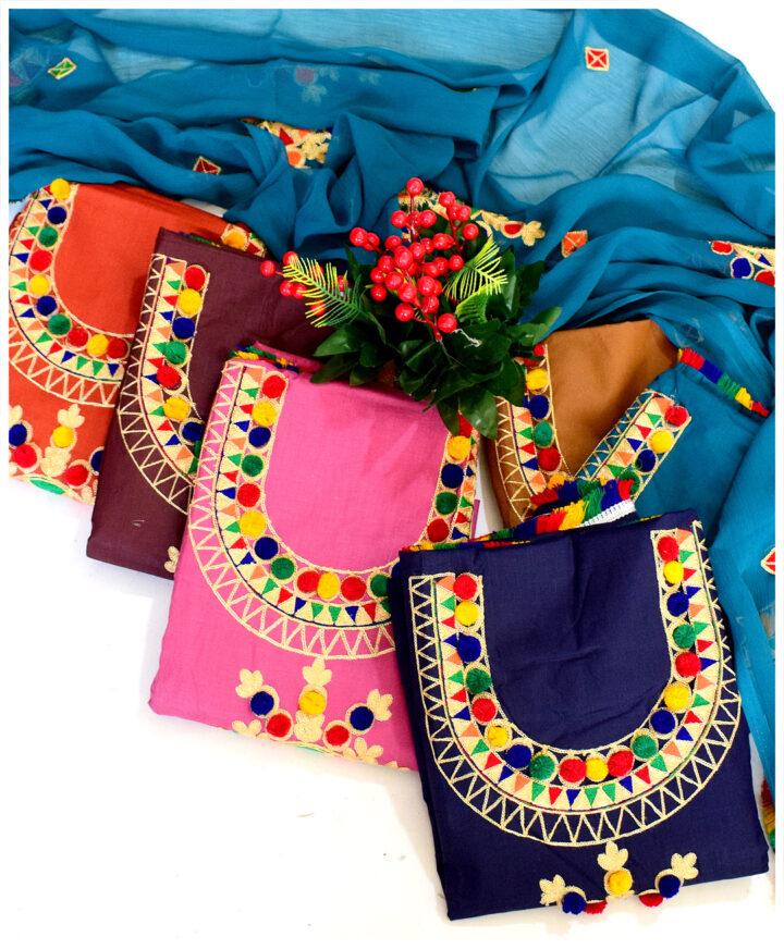 Lawn 3 PCs Machine Aari Ball Embroidery Suits With Chiffon Dupatta