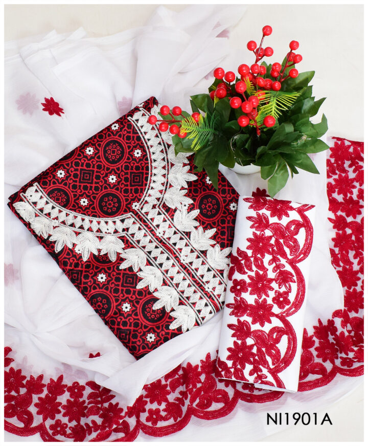 3 PCs Un-Stitched Lawn Ajrak Aari Embroidery Suits With Chiffon Dupatta - NI1901A