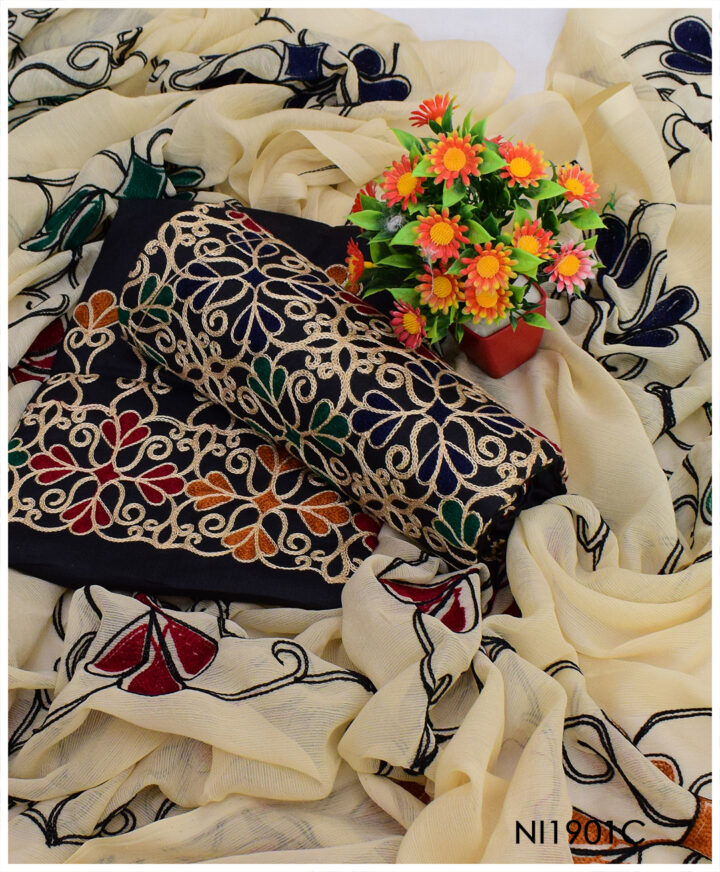 3 PCs Lawn Aari Embroidery Black Suits With Heavy Embroidered Chiffon Dupatta - NI1901C