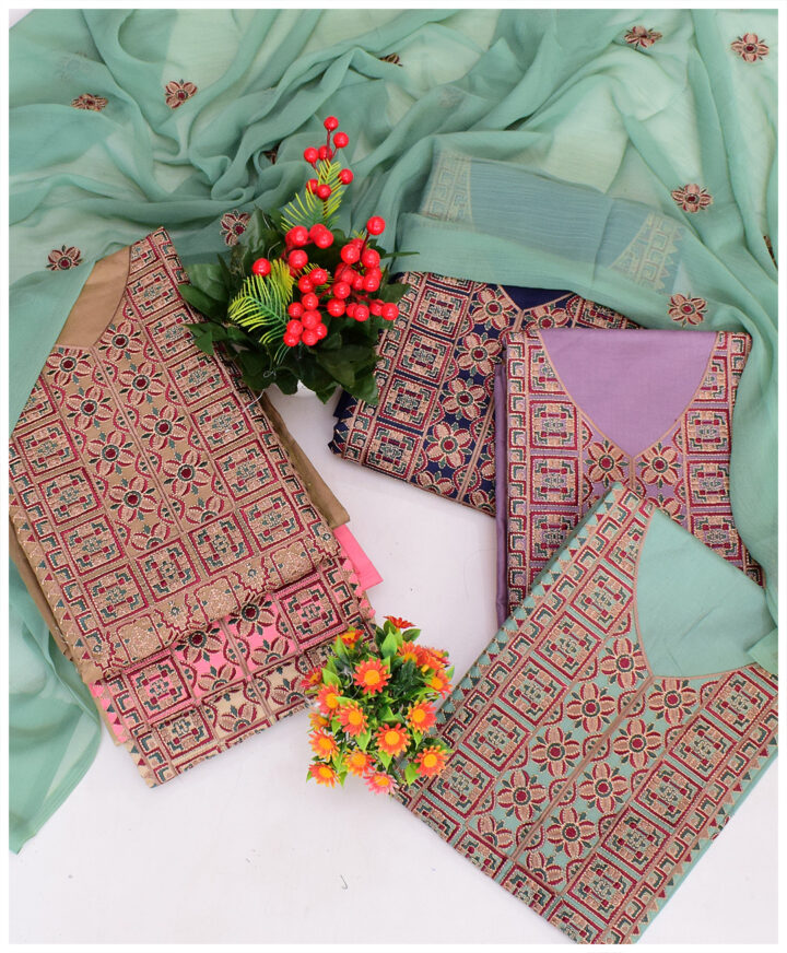 3 PCs Un-Stitched Lawn Embroidery Suits With Chiffon Dupatta - NI1901Ea