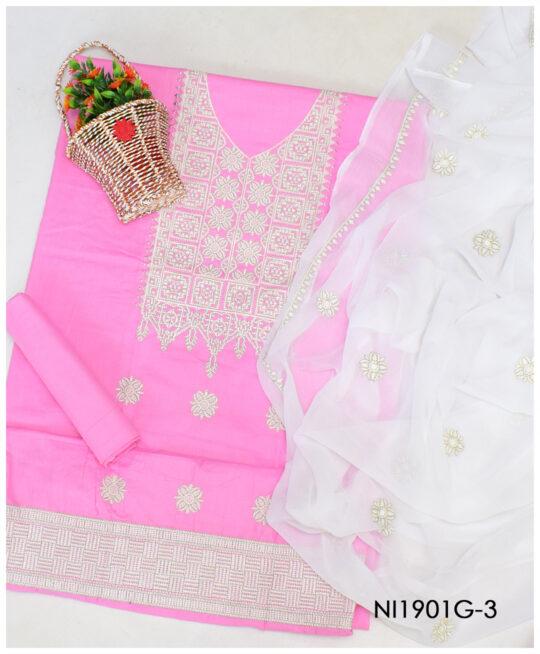3 PCs Lawn Machine Embroidery Un-Stitched Suits With Chiffon Dupatta - NI1901G3