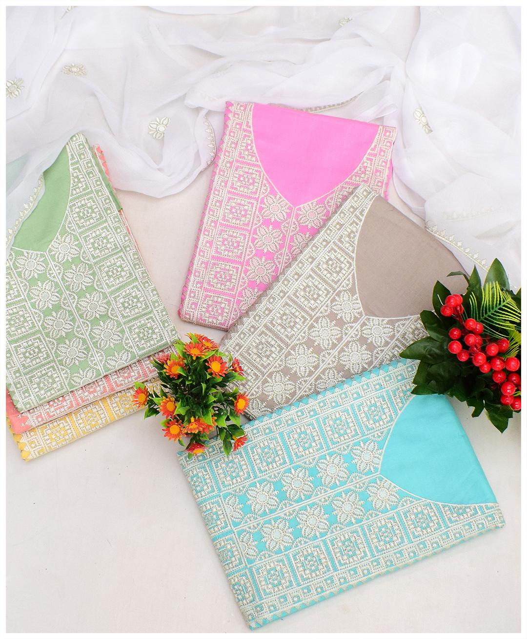 3 PCs Lawn Machine Embroidery Un-Stitched Suits With Chiffon Dupatta - NI1901G