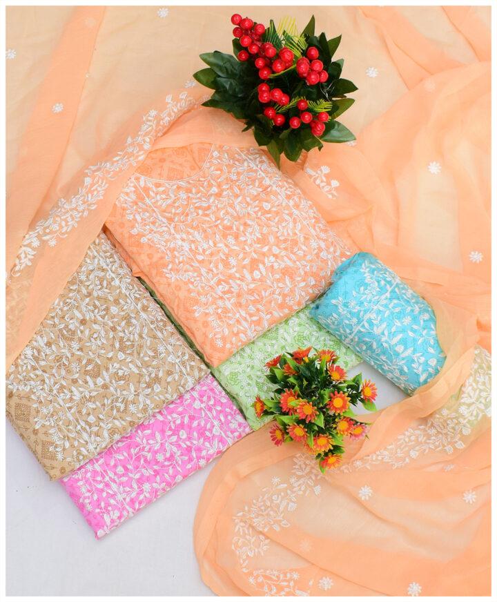 3 PCs Self Printed Un-Stitched Bareeze Embroidery Neck Border Style with Chiffon Dupatta - NI1901J