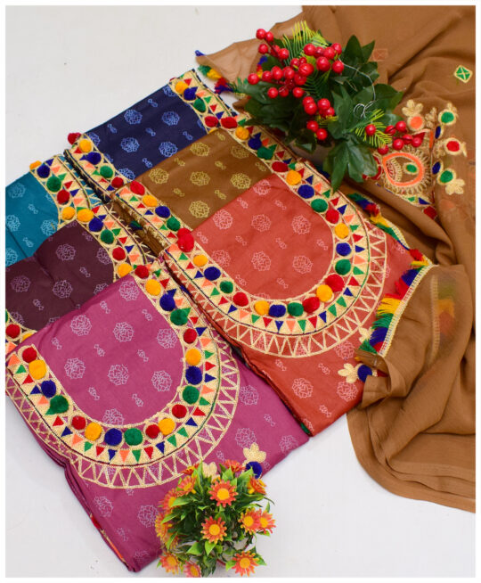 3 PCs Aari Ball Work On Printed Lawn Un-Stitched Embroidered Suits With Chiffon Dupatta – NI1901K
