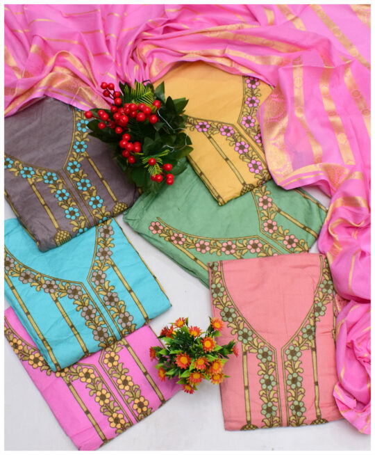 Fancy Lawn 3 PCs Un-Stitched Embroidered Suits With Lawn Banarsi Dupatta - NI1903C