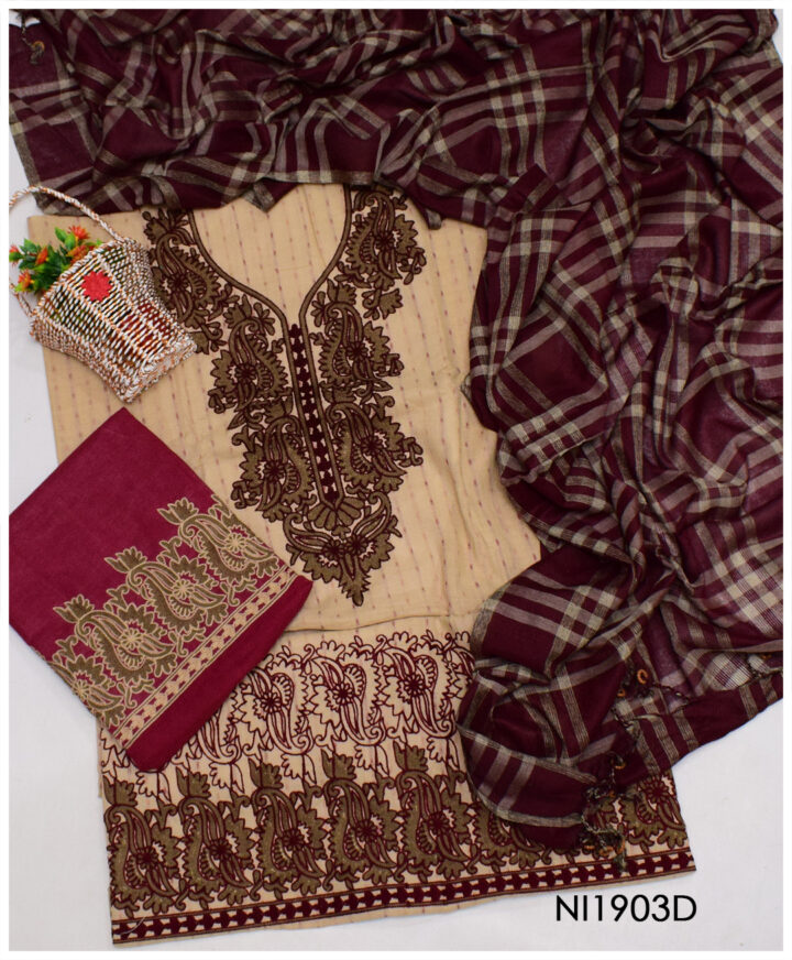 3 PCs Fancy Lawn Embroidered Un-Stitched Suits With Check Dupatta - NI1903D