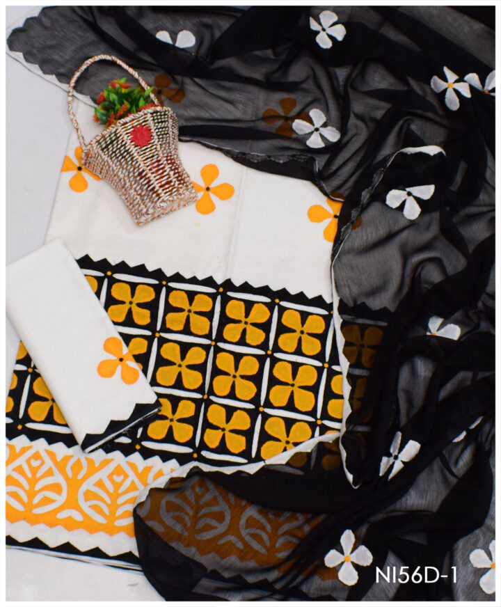 3 PCs Cotton Lawn Beautiful Applique Work Suits With Chiffon Dupatta - NI56D
