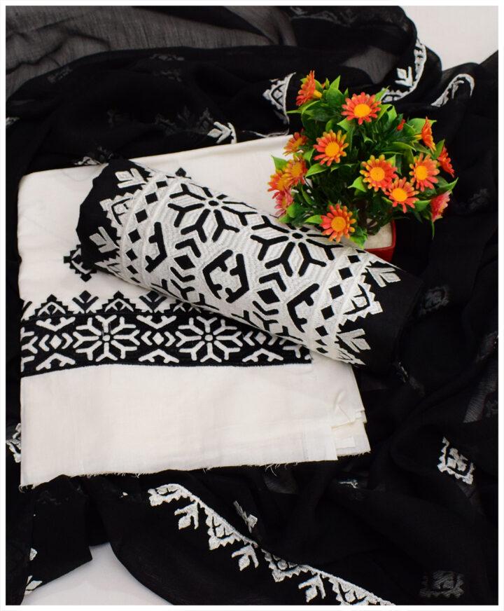 Un-Stitched Cotton Lawn 3 PCs Computer Applique Black & White Suits with Chiffon Dupatta