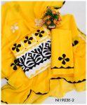 3 PCs Lawn Handmade Applique Work Suits With Chiffon Dupatta - Ni1903E2
