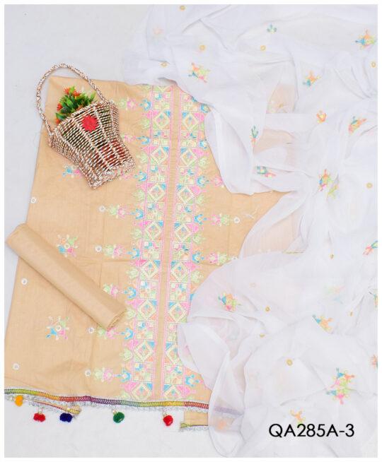 3 PCs Un-Stitched Lawn Embroidery Suits With Chiffon Dupatta - QA285A3