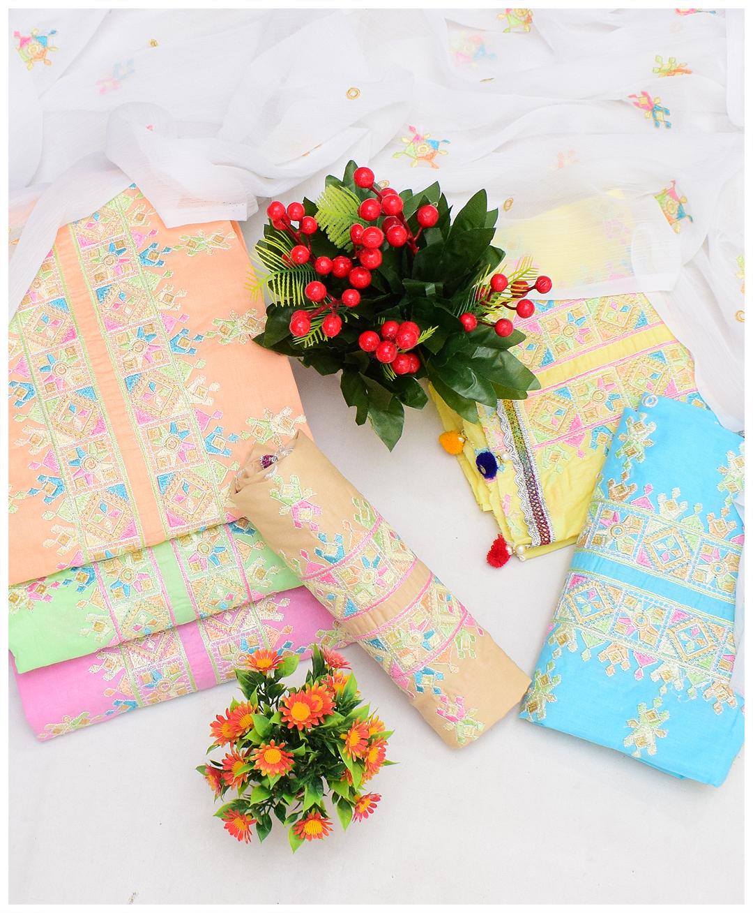 3 PCs Un-Stitched Lawn Embroidery Suits With Chiffon Dupatta – QA285A