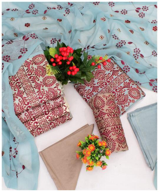 Lawn 3 PCs Un-Stitched Machine Aari Work Suits With Chiffon Dupatta – QA285D