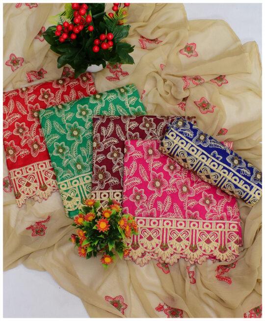 3 PCs Un-Stitched Lawn Embroidery Suits With Chiffon Dupatta – QA28Mc