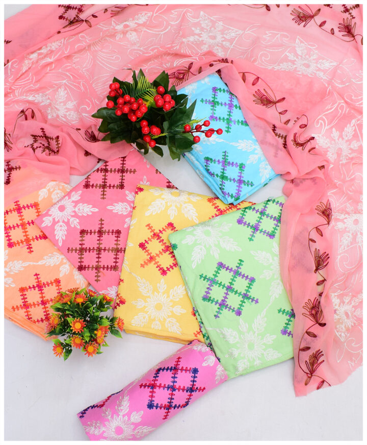 3 PCs Lawn Aari Embroidery Suits With Chiffon Dupatta - QA28R