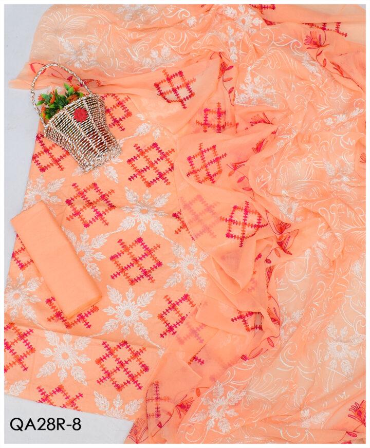 3 PCs Lawn Aari Embroidery Suits With Chiffon Dupatta - QA28R8