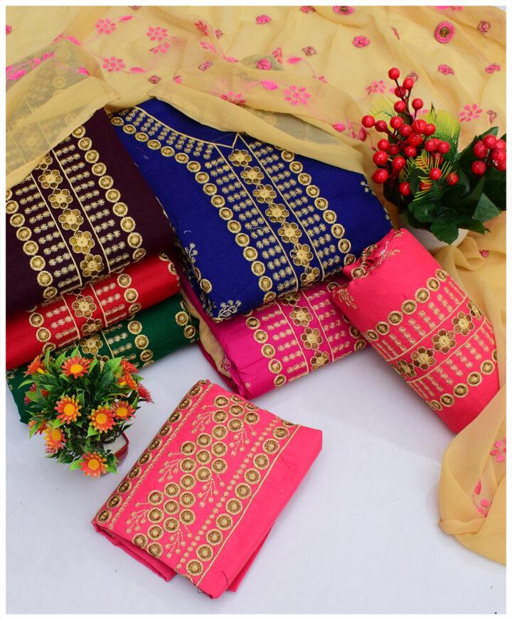 3 PCs Summer Cotton Lawn Embroidery Un-Stitched Suits With Chiffon Dupatta - QA28V