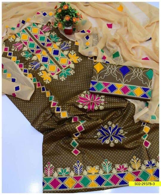 3 PCs Gold Dot Printed Lawn Un-Stitched Aari Work Suits With Chiffon Dupatta - KS2937B3